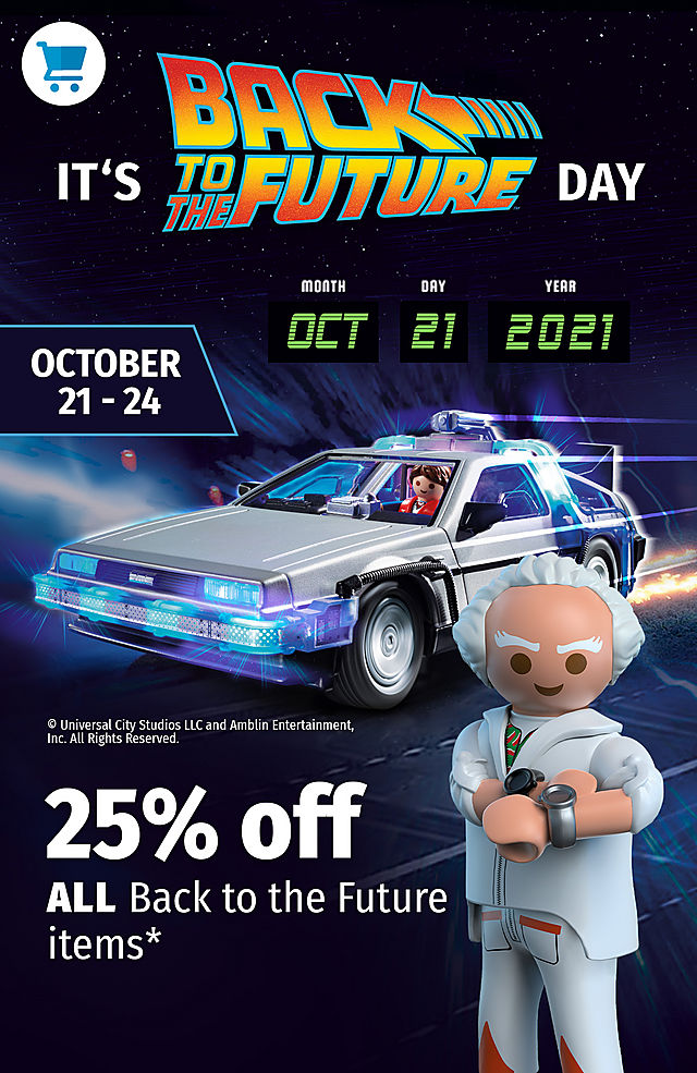 image shows marty mcfly and doc brown with the delorean - save 25% on BTTF products from October 21 to 24