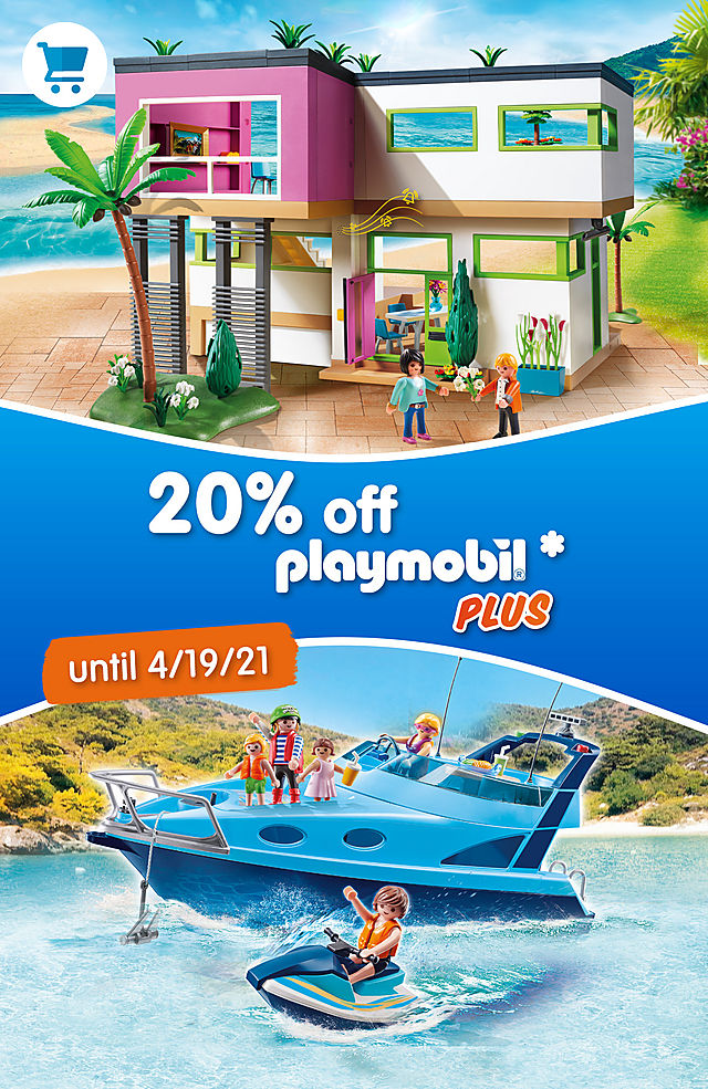 20% discount on all products of the Playmobil Plus assortment - discover great playsets like 70630 PLAYMOBIL FunPark Yacht and 5574 Modern Luxury Mansion