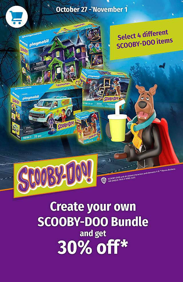 Image shows 4 Scooby-Doo items in the package and a 3D figure of Scobby-Doo with a mug. Create your own Scooby-Doo Bundle and get 30% off - from October 27 to November 1