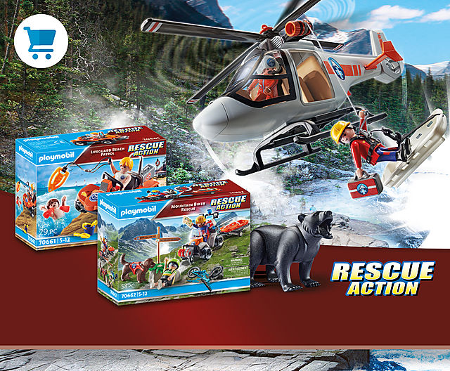 Became a real-life hero with our new play sets 70661 Lifeguard Beach Patrol and70662 Mountain Biker Rescue or 70663 Canyon Copter Rescue