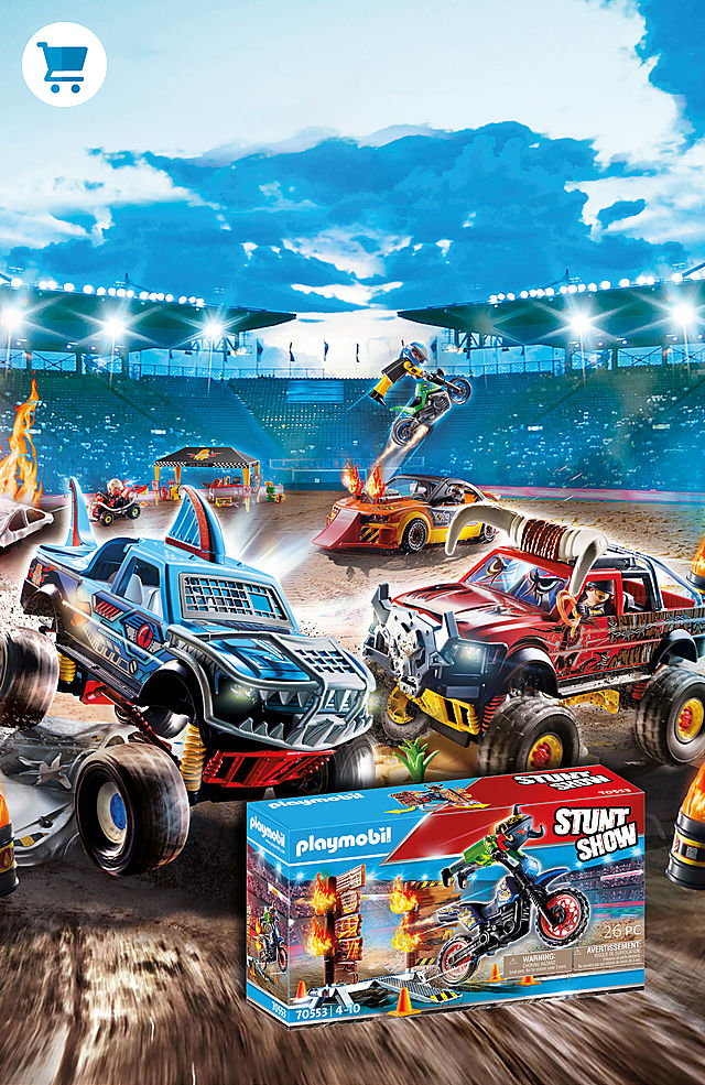 Experience amazing stunts with the new world of Playmobil and the products 70549 Stunt Show Bull Monster Truck and 70550 Stunt Show Shark Monster Truck