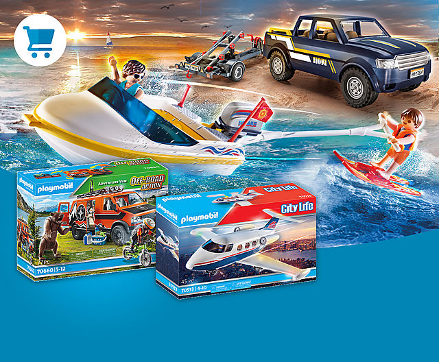 Discover our newest PLAYMOBIL sets - cool vehicles like 70534 Pick-Up with Speedboat or 70533 Private Jet