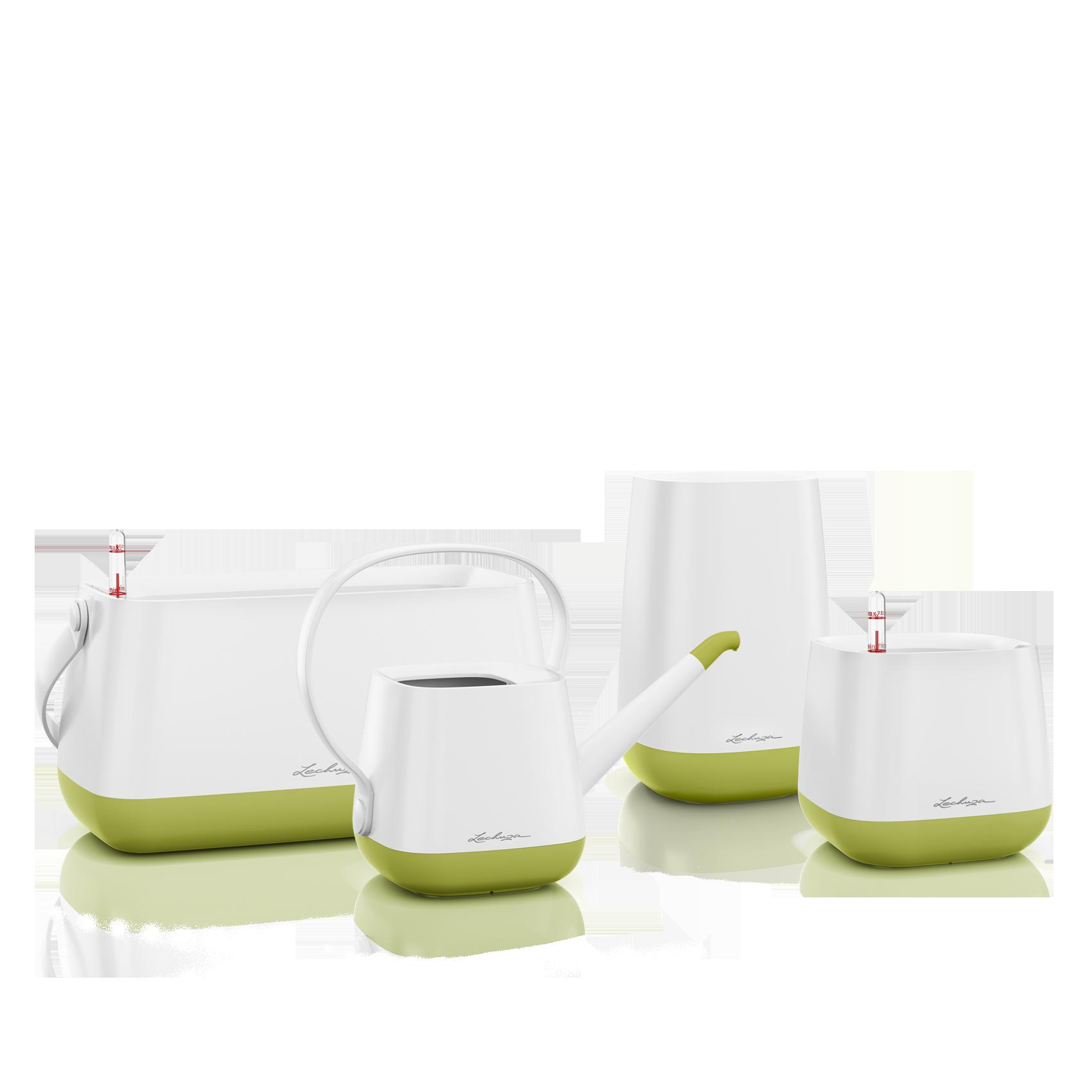 Set YULA blanc/vert pistache satiné