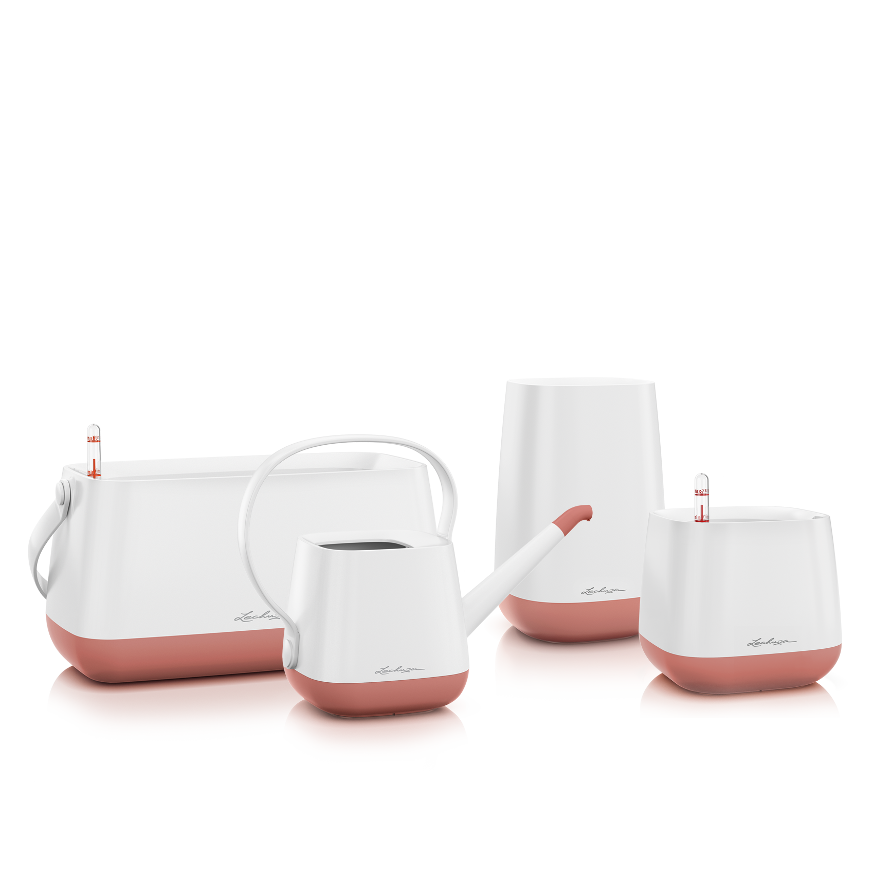 Set YULA blanc/rose poudré satiné