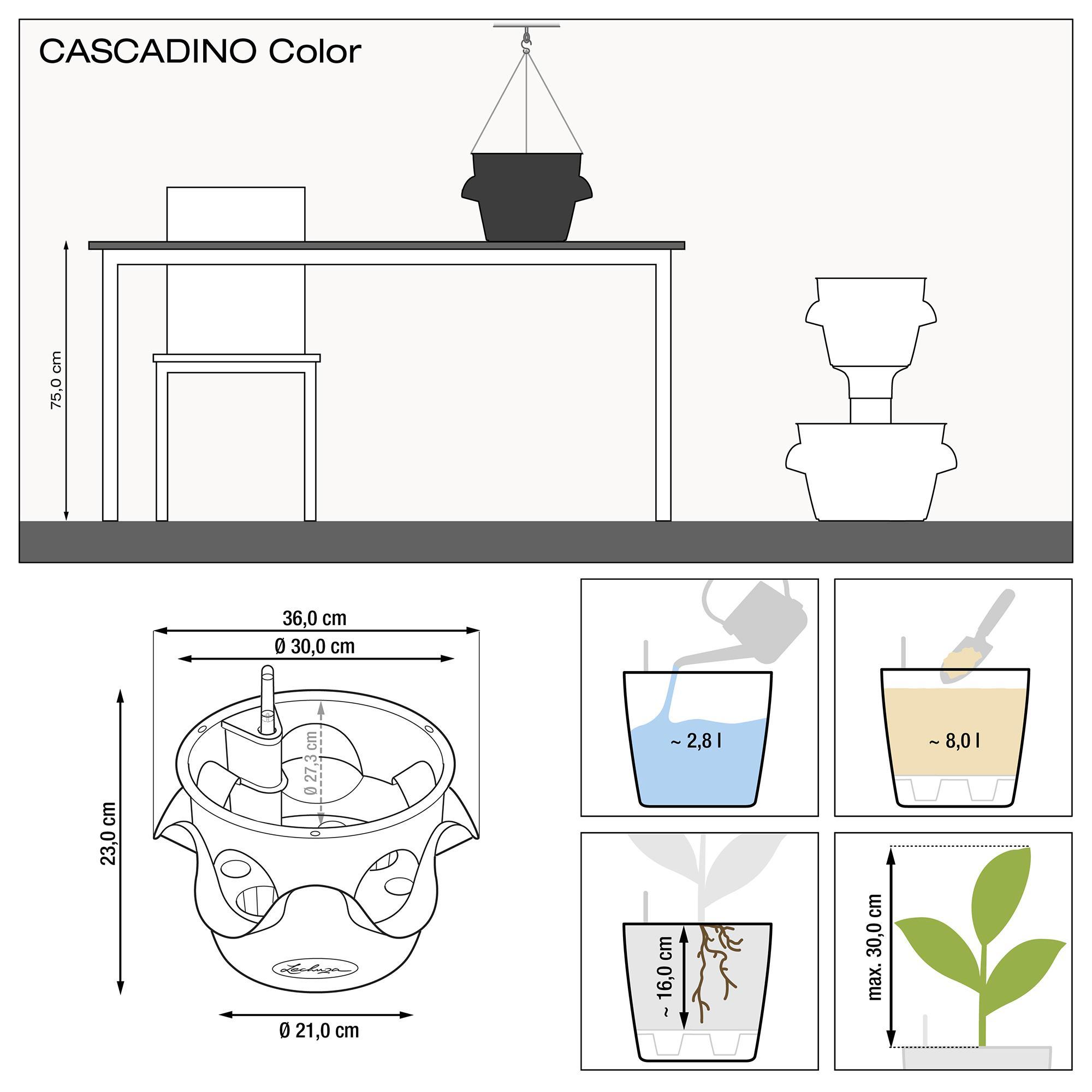 CASCADINO Color Отдельное подвесное кашпо серый - изображение 2