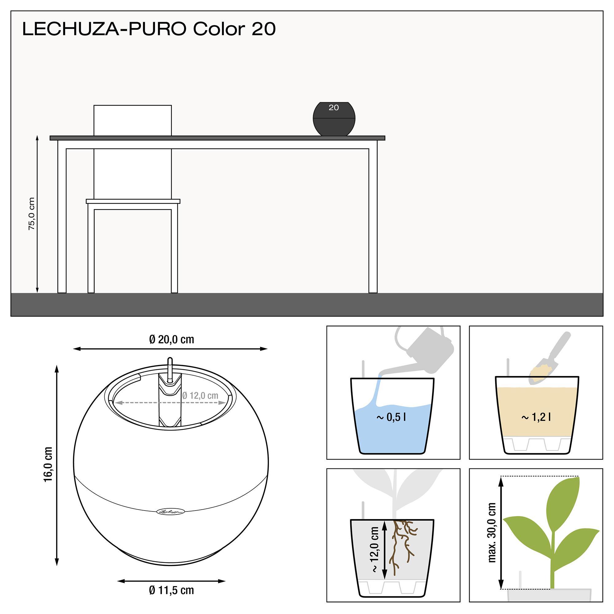LECHUZA-PURO Color 20 weiß - Bild 3
