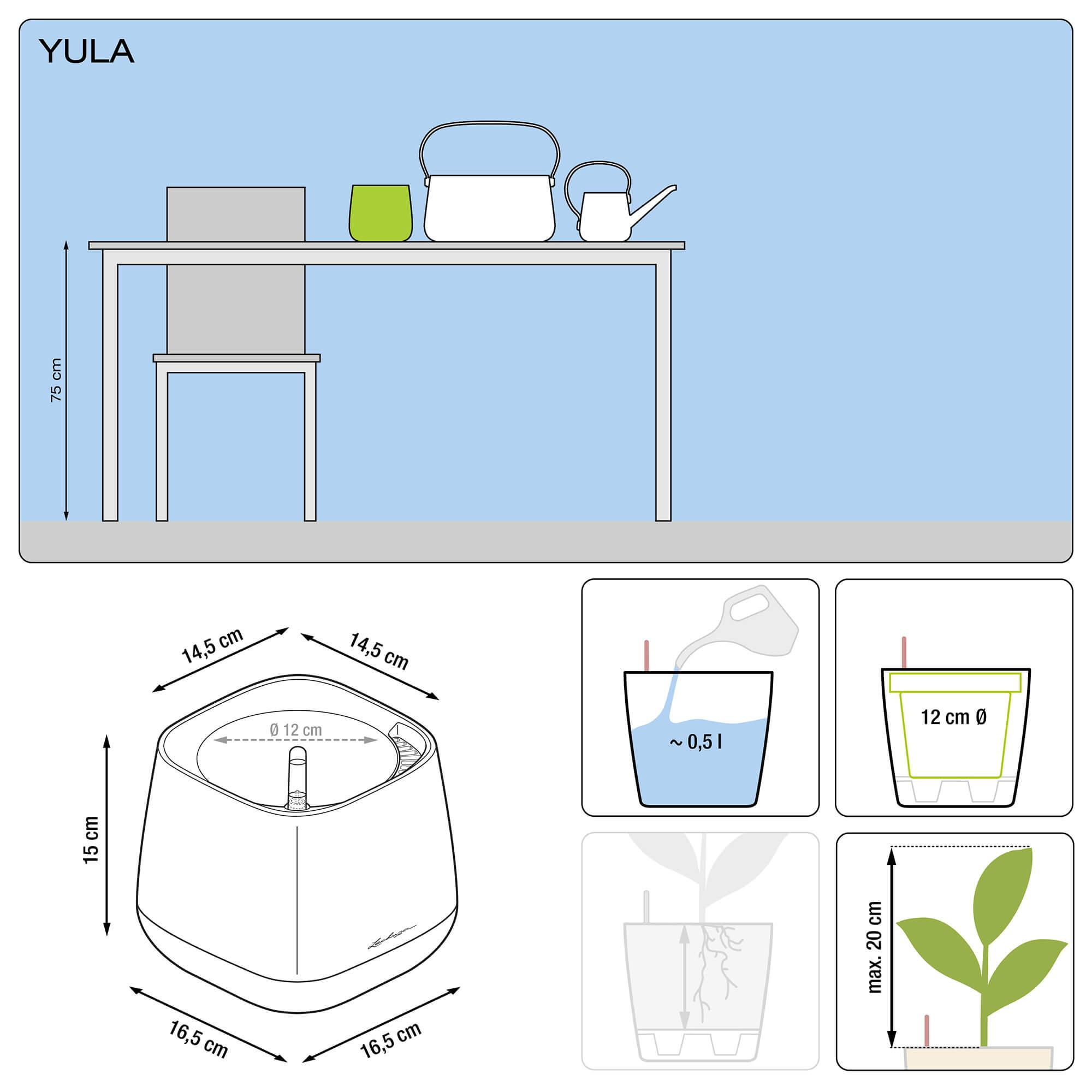 YULA Pflanzgefäß weiß/grau seidenmatt - Bild 2