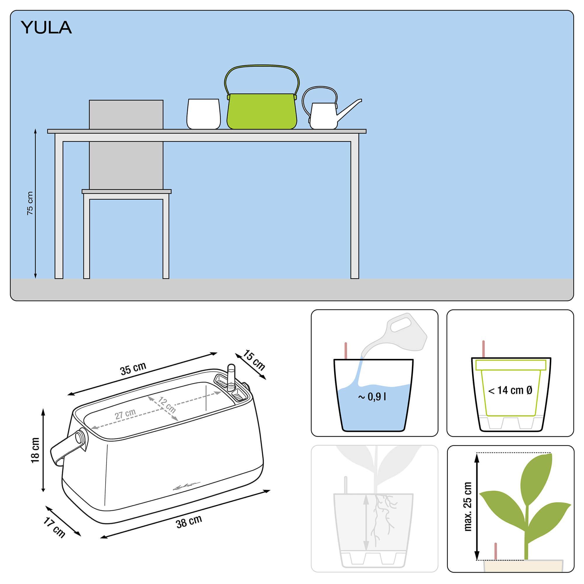 Borsetta per piante YULA bianco/grigio semi opache - Immagine 2