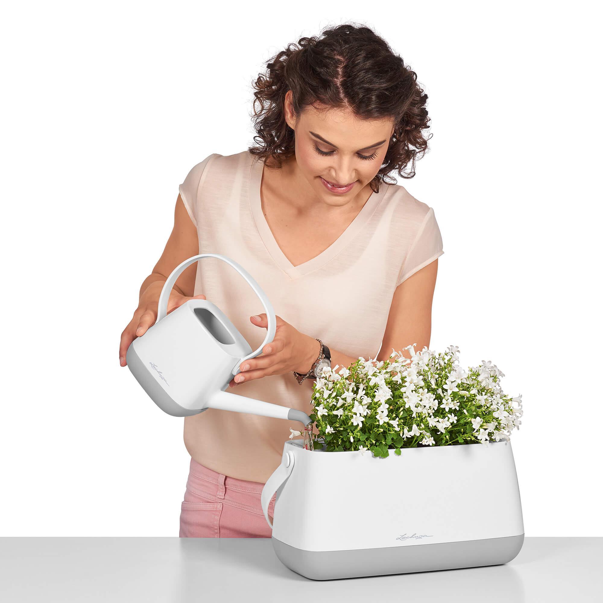 Maceta para plantar YULA blanco/gris satinado - Imagen 11